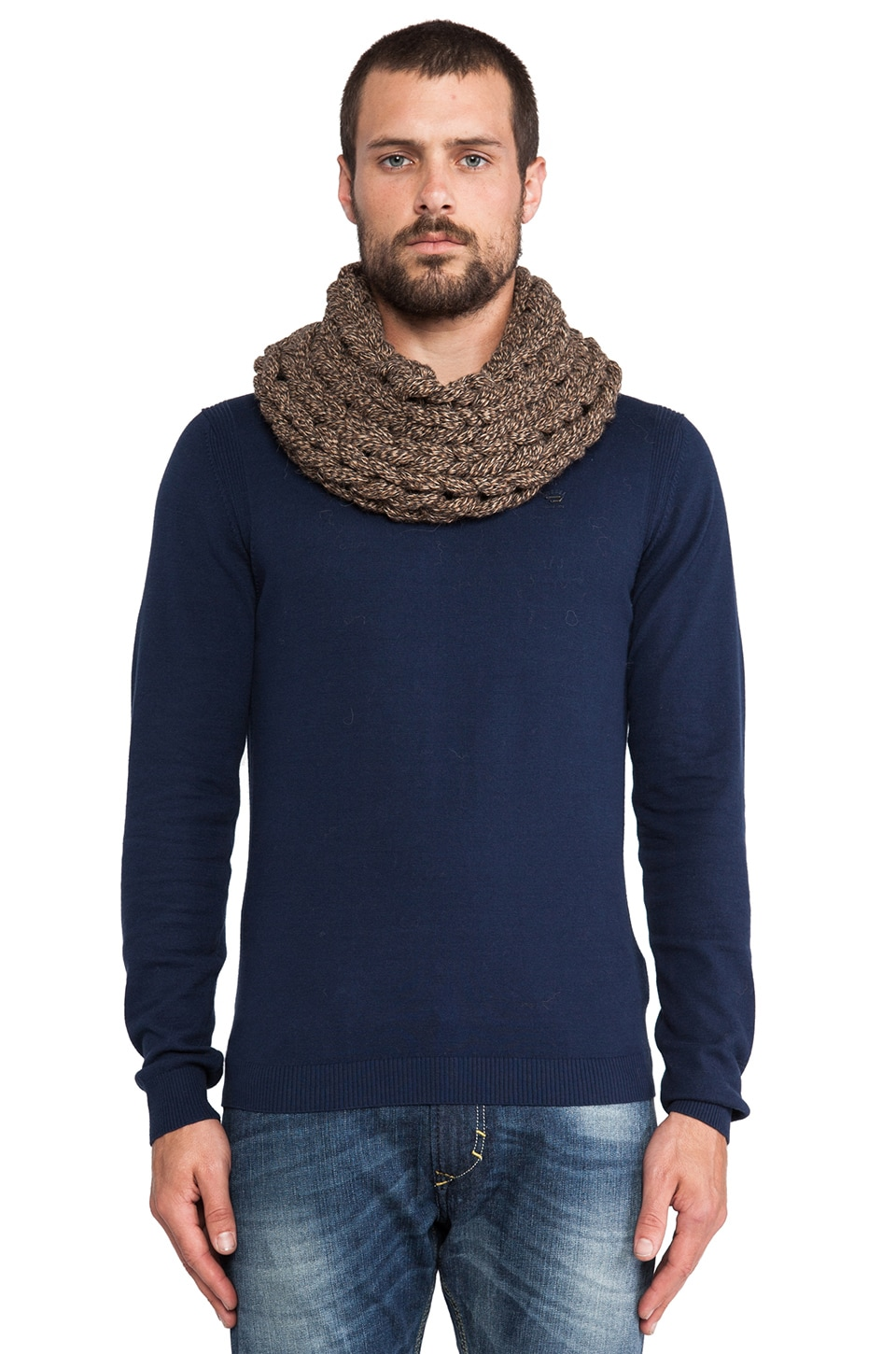 DE NADA Large Knit Cowl in Brown Mix