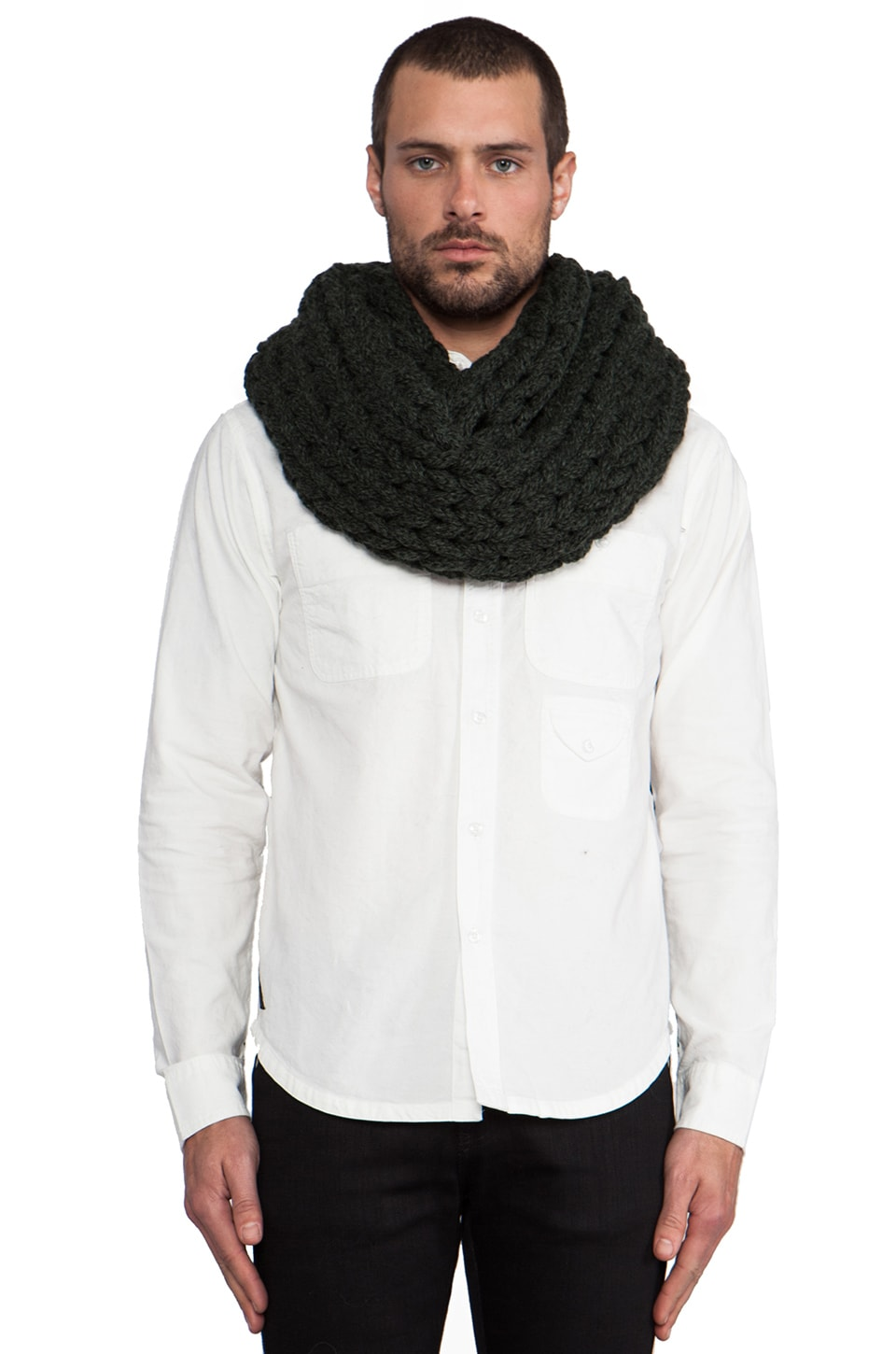 DE NADA Large Knit Infinity in Olive Mix