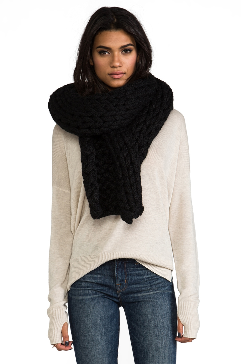 DE NADA Large Knit Shawl in Black