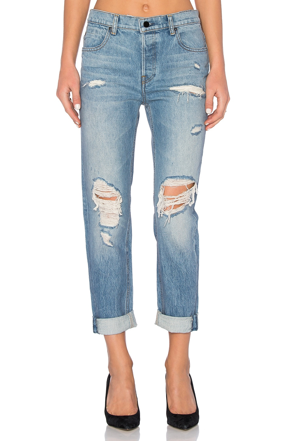 DENIM x ALEXANDER WANG 003 Boyfriend Jean in Light Indigo Aged