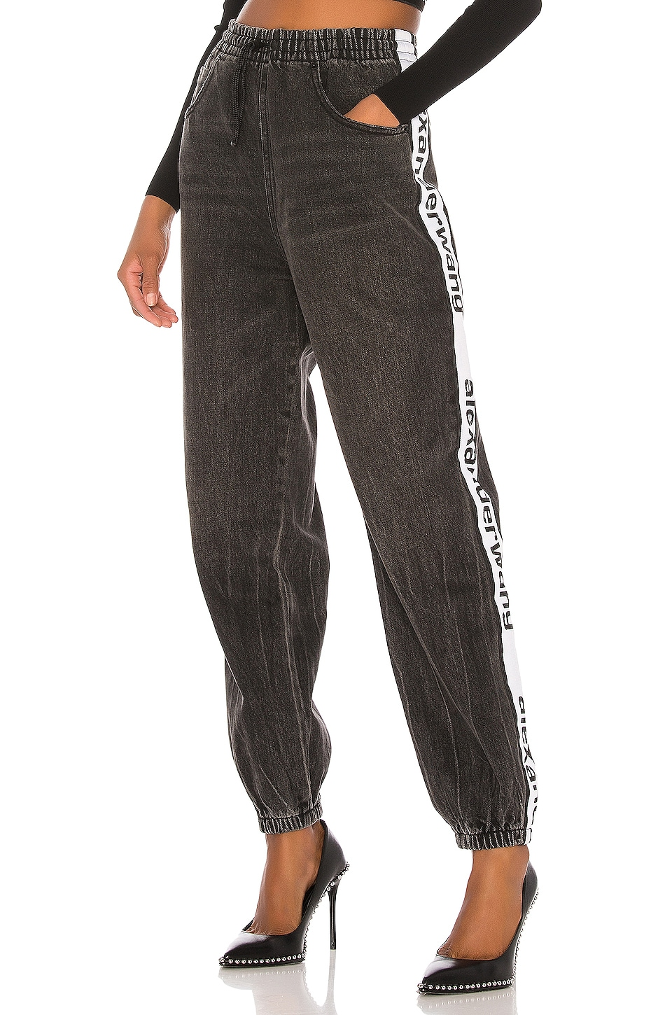 DENIM x ALEXANDER WANG Track Pant in Grey Aged