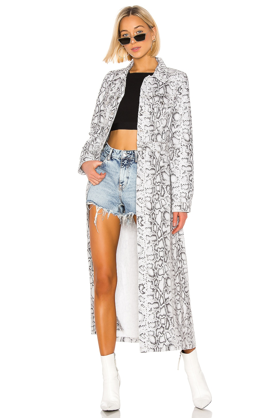 DENIM x ALEXANDER WANG Fitted Trench in Faded Python