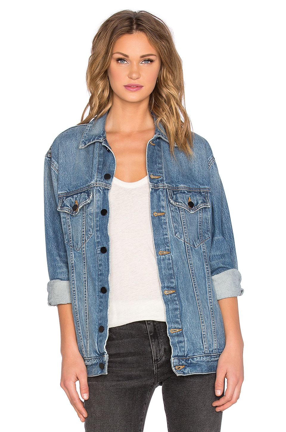 DENIM x ALEXANDER WANG Daze Oversized Jean Jacket in Light Indigo Aged