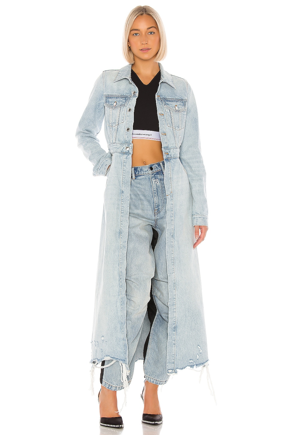 DENIM x ALEXANDER WANG Fitted Trench in Bleach