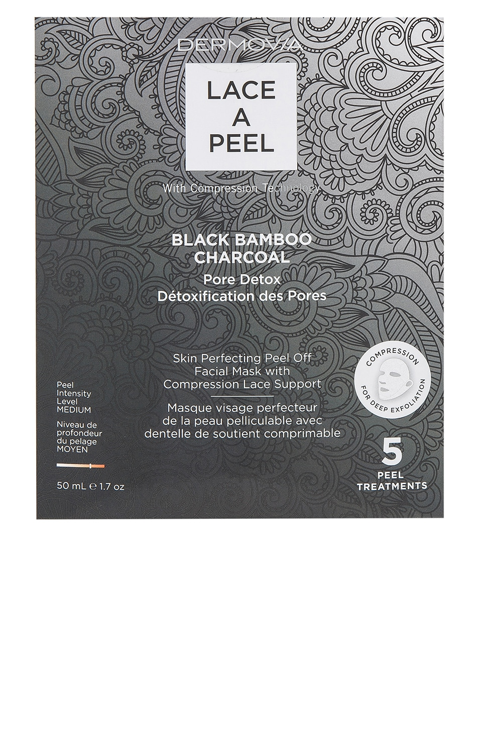 Dermovia Black Bamboo Charcoal Lace a Peel Mask 5 Pack