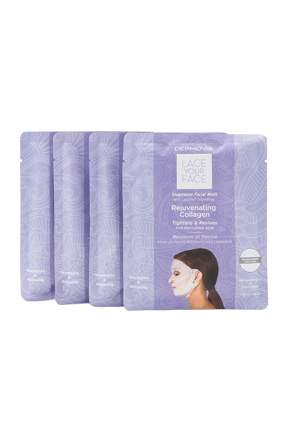 Dermovia Rejuvenating Collagen Lace Your Face Mask 4 Pack