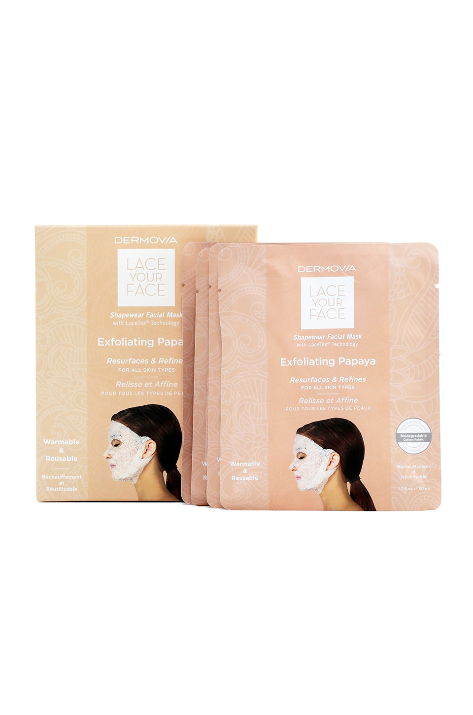 Dermovia Exfoliating Papaya Lace Your Face Mask 4 Pack