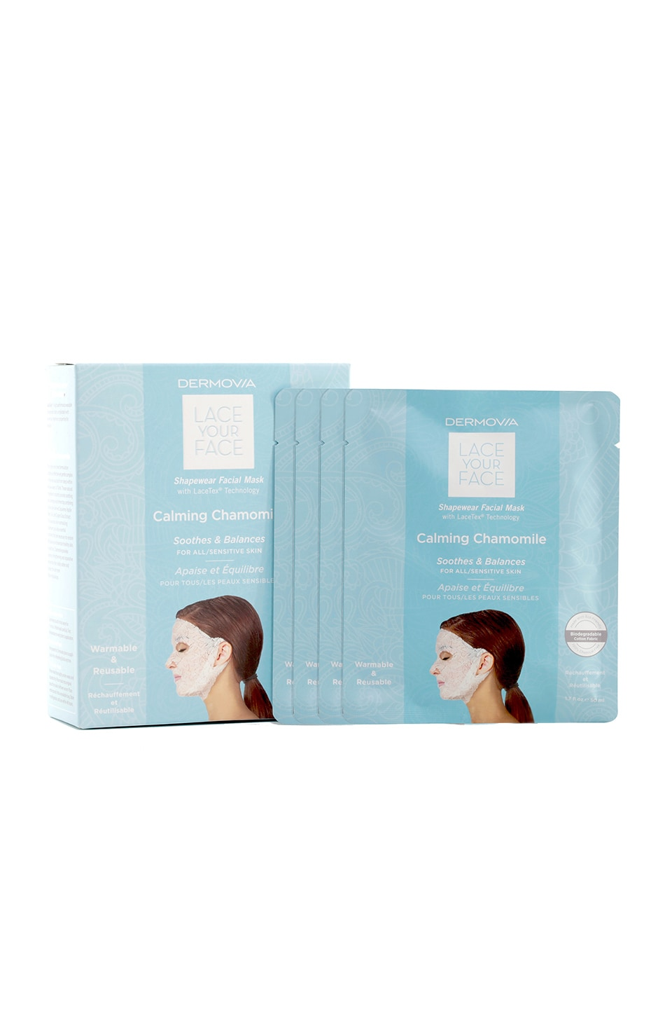 Dermovia Calming Chamomile Lace Your Face Mask 4 Pack