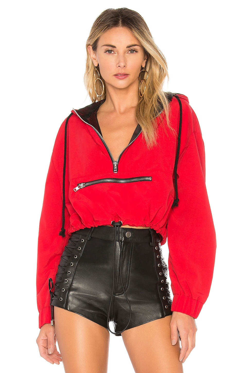 DANIELLE GUIZIO Zipper Pocket Hoodie in Red