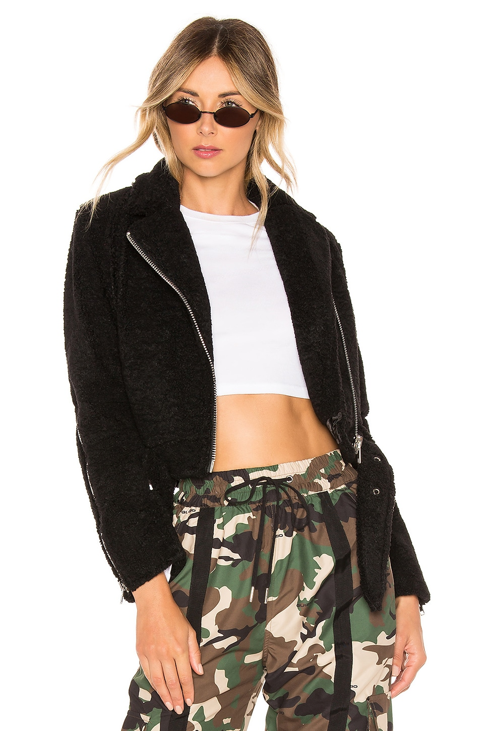 DANIELLE GUIZIO Cropped Moto Jacket in Black