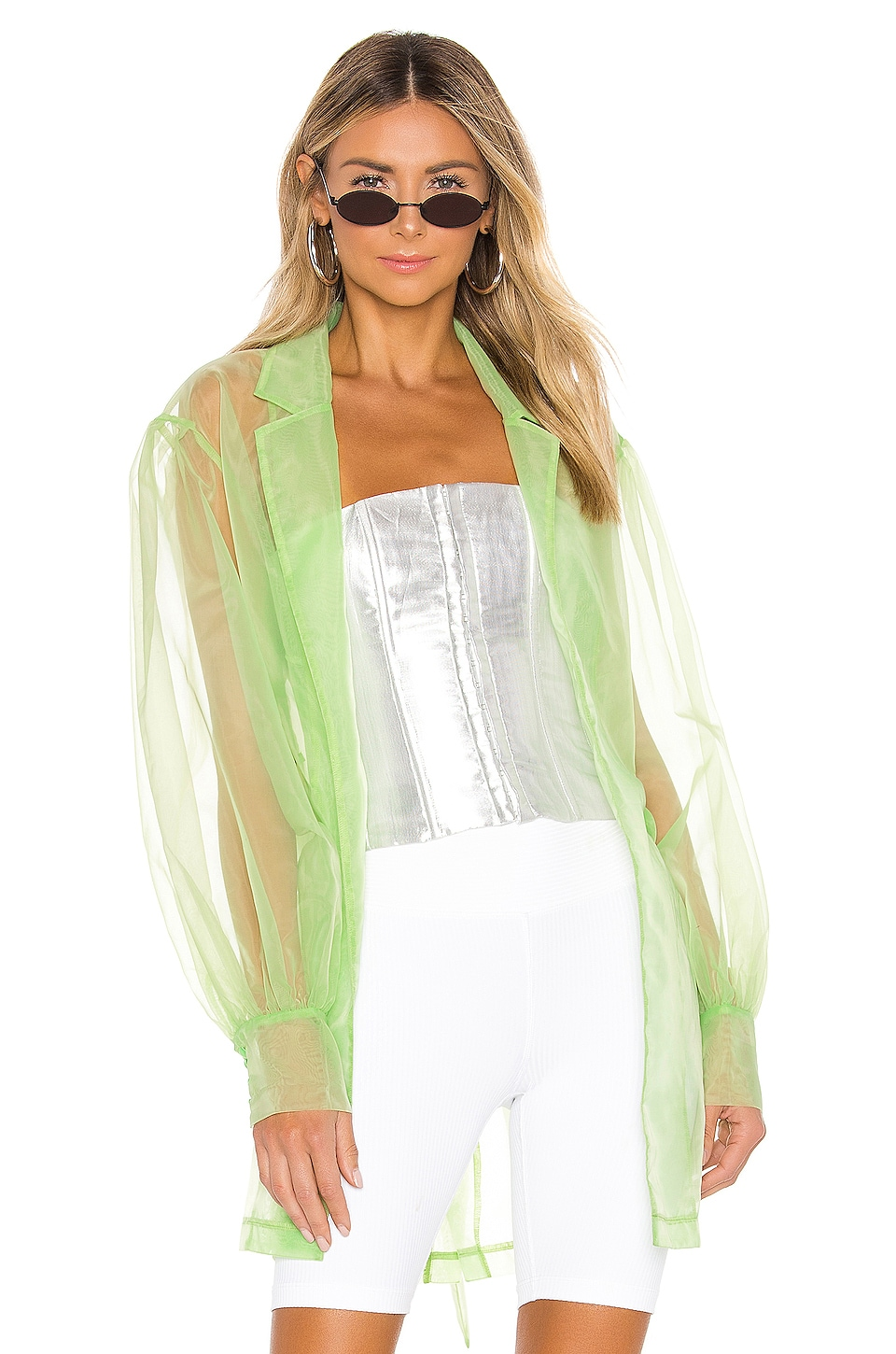 DANIELLE GUIZIO Organza Trench in Citrus Green