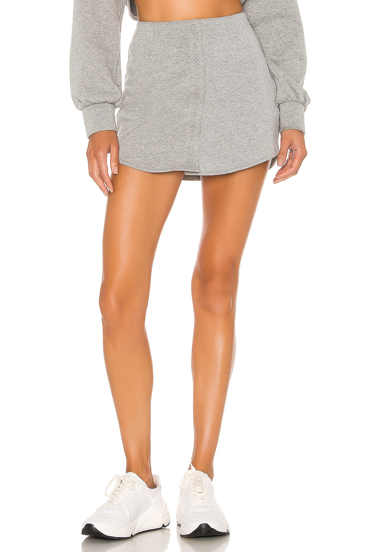DANIELLE GUIZIO Fleece Button Skirt in Grey