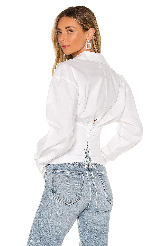 DANIELLE GUIZIO Corset Button Up Blouse en White