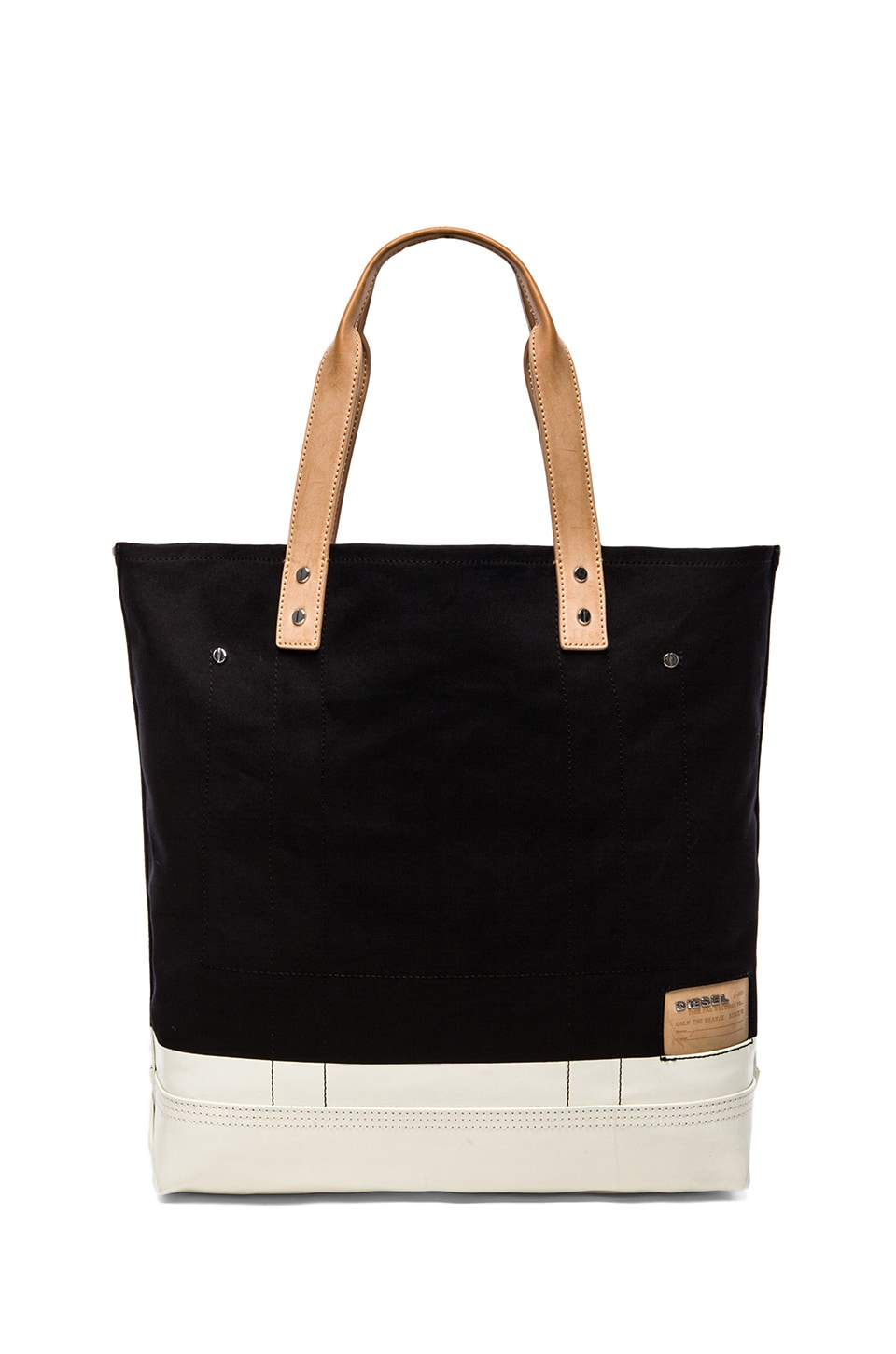 Diesel Stripe & Sand Playgo Tote in Black & Bright White