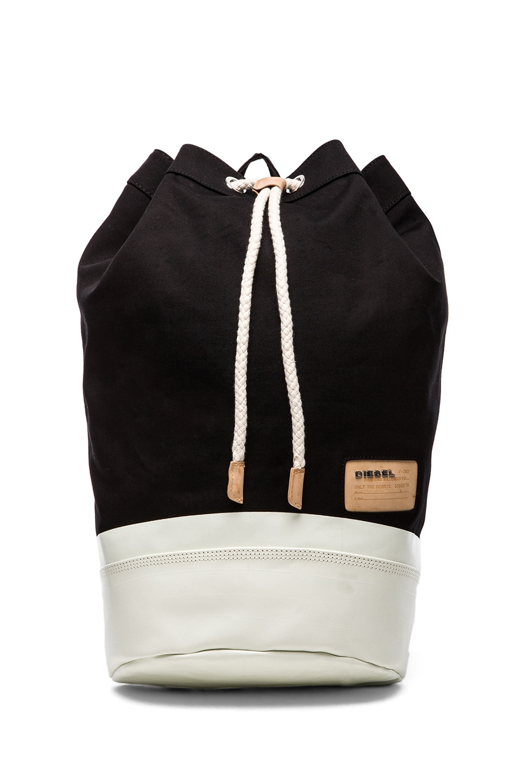 Diesel Stripe & Sand Shore Backpack in Black & Bright White