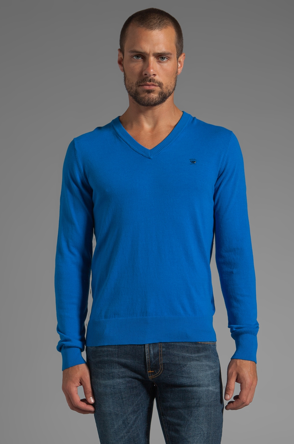 Diesel Meceneo V Neck Sweater in Ocean