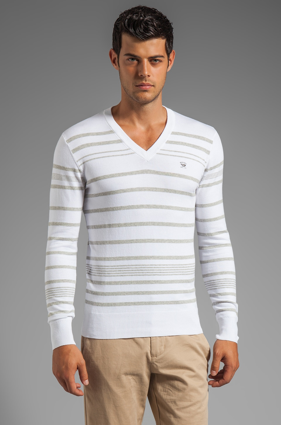 Diesel Riga Stripe Sweater in White