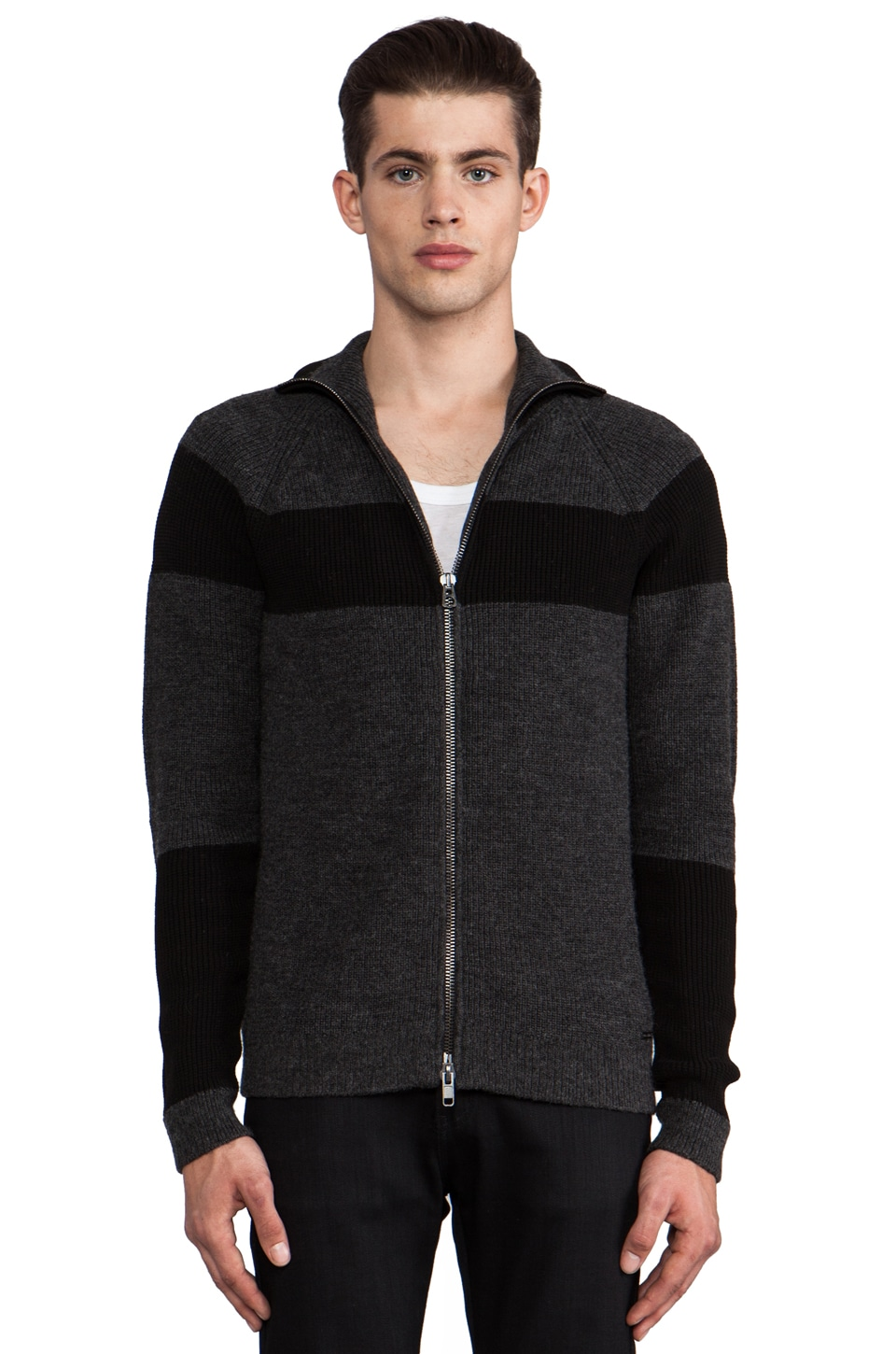 Diesel Esha Zipper Cardigan in Black