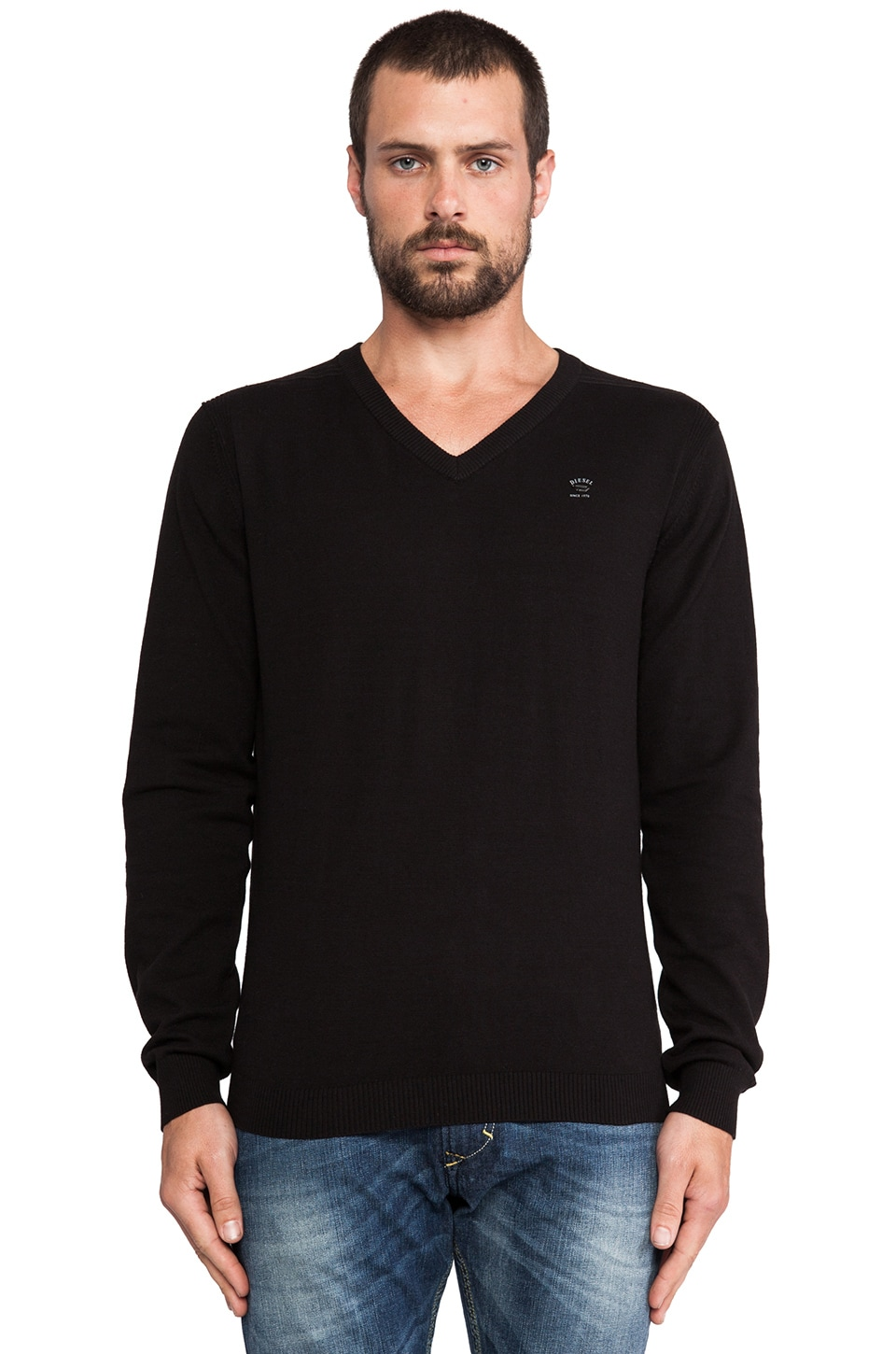 Diesel Ben V-Neck Sweater in Black