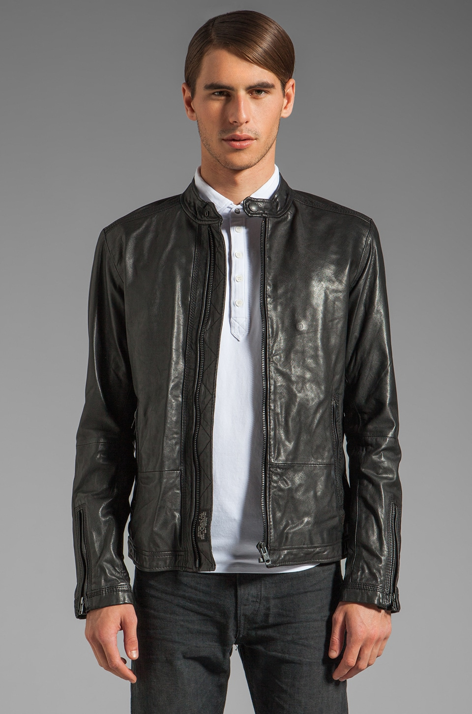 Diesel Lagnum Leather Jacket in Black