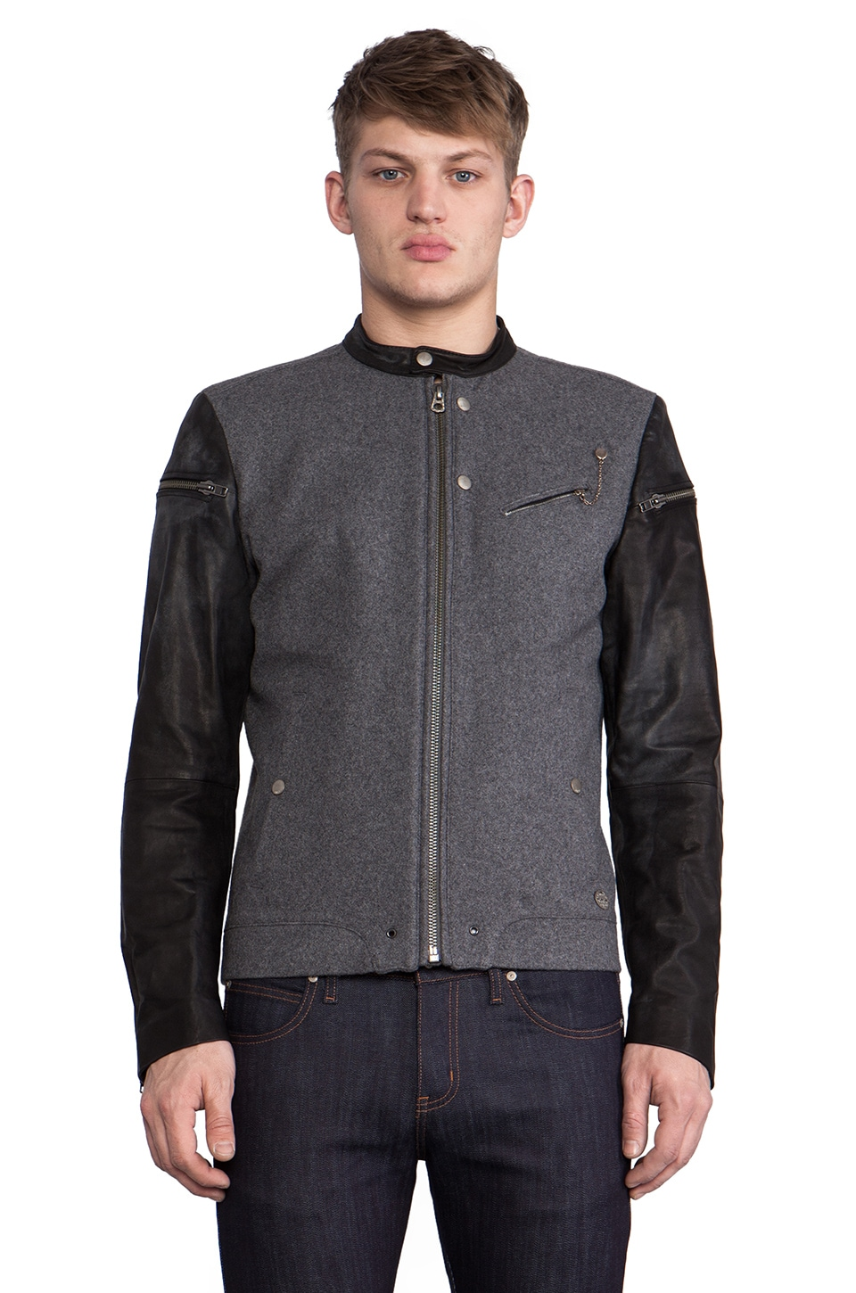 Diesel Baselt Moto Jacket w/Leather Sleeves in Grey