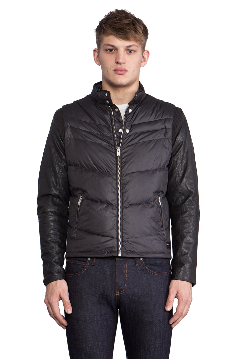 Diesel Ken Leather Puffer Jacket in Charcoal