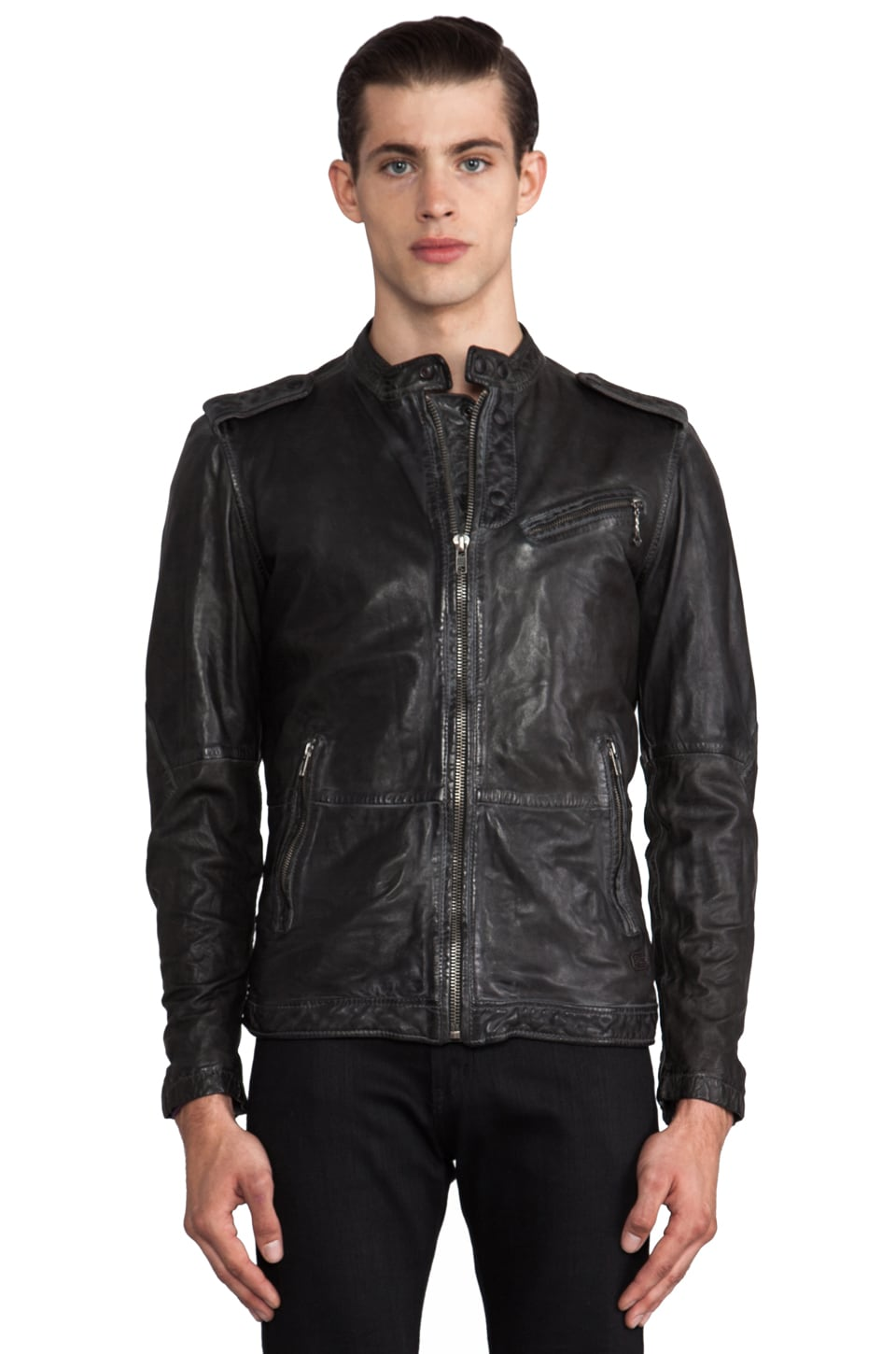 Diesel Leprandis Leather Jacket in Charcoal