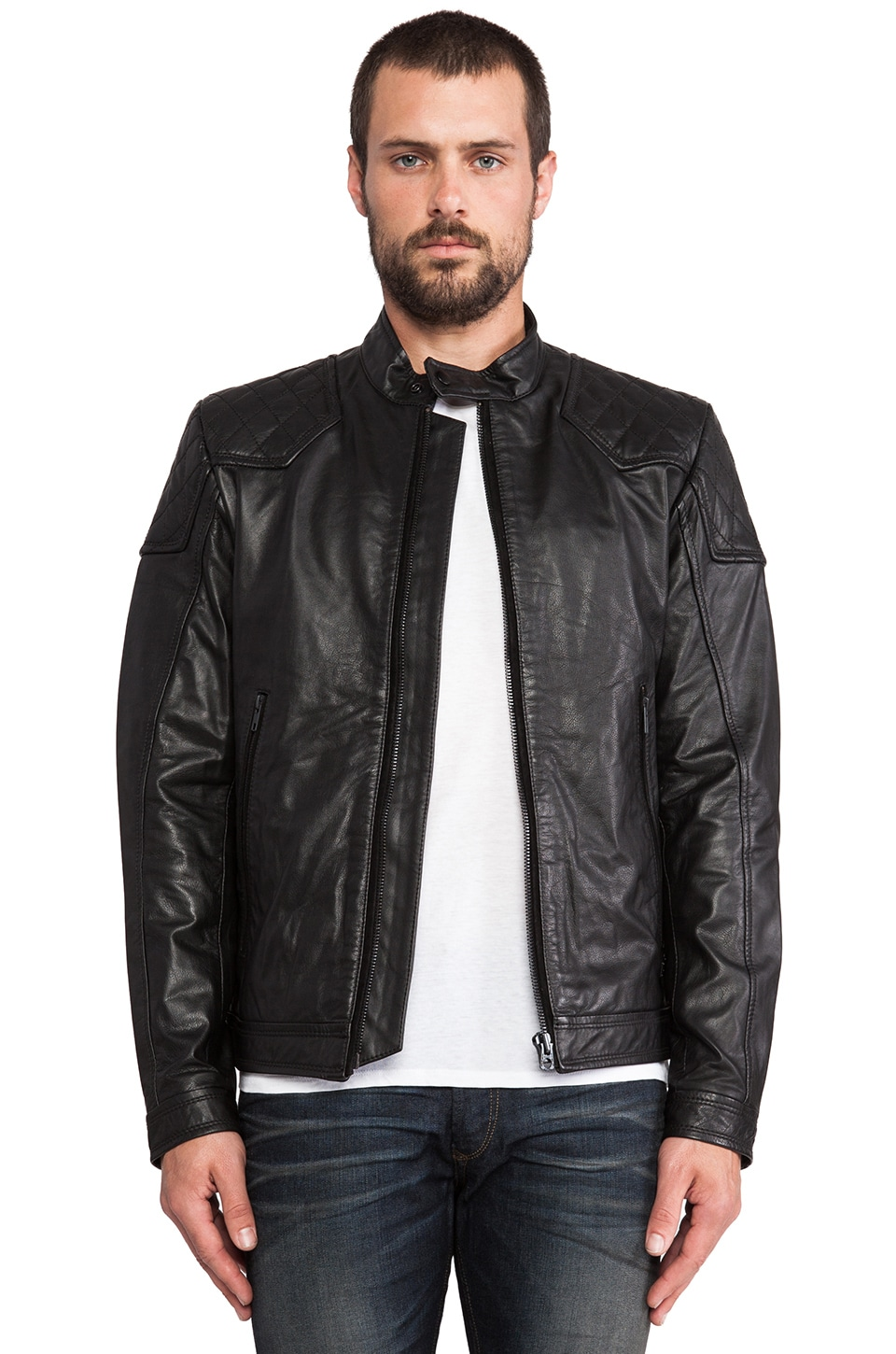 Diesel Laleta Leather Jacket in Black | REVOLVE
