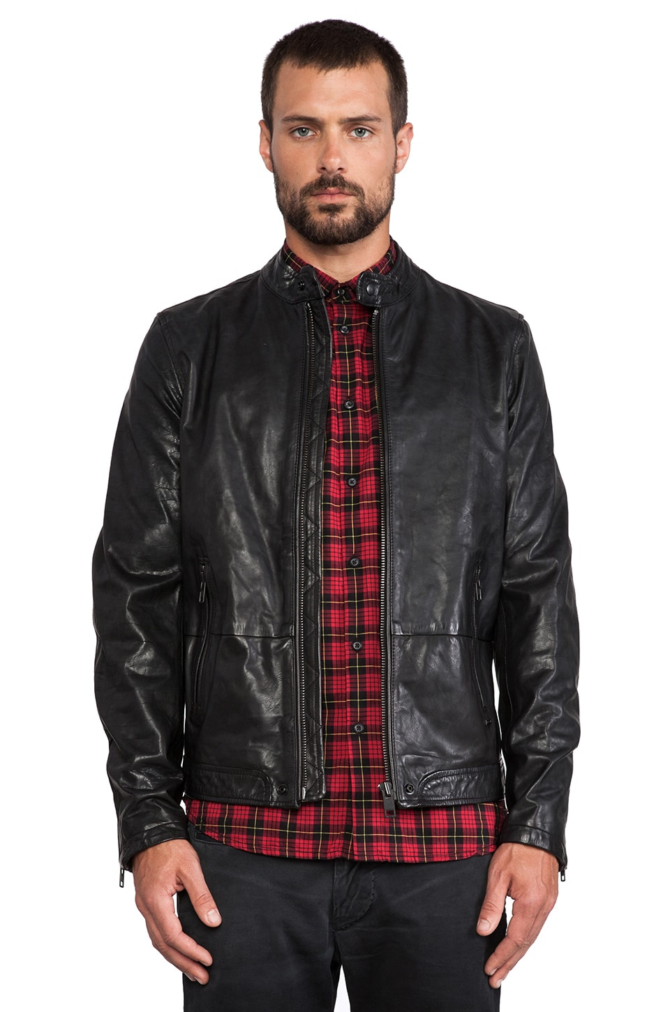 Diesel Thermal Leather Jacket in Black