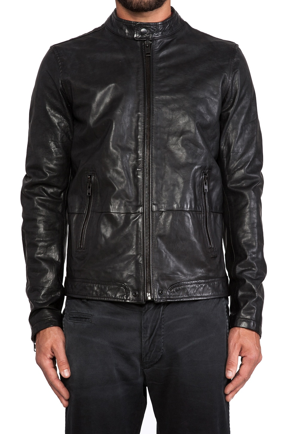 Diesel Thermal Leather Jacket in Black | REVOLVE