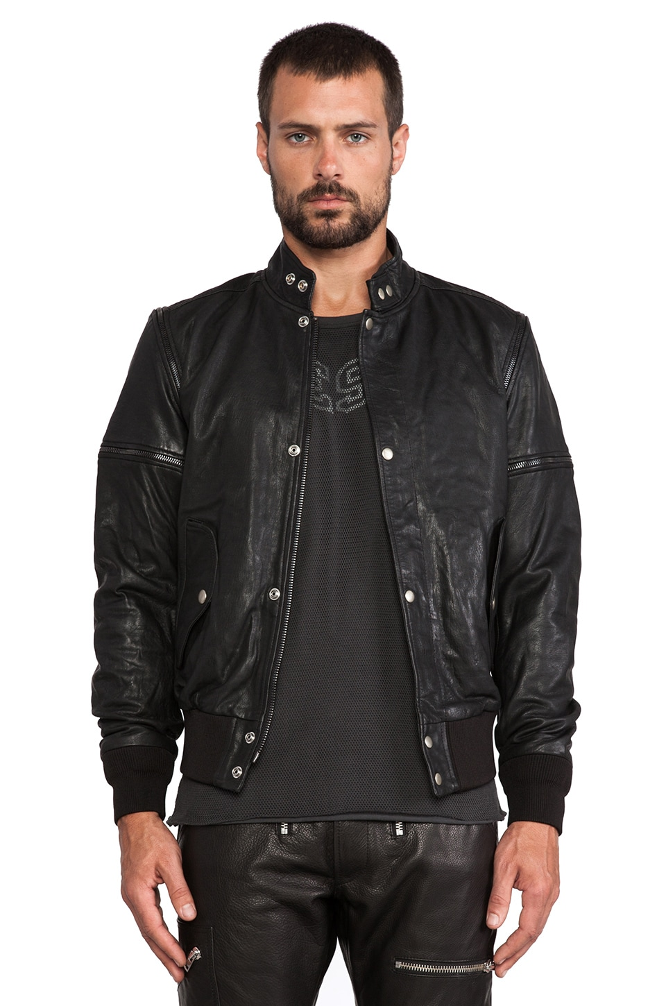 Diesel Ghita Leather Jacket in Black