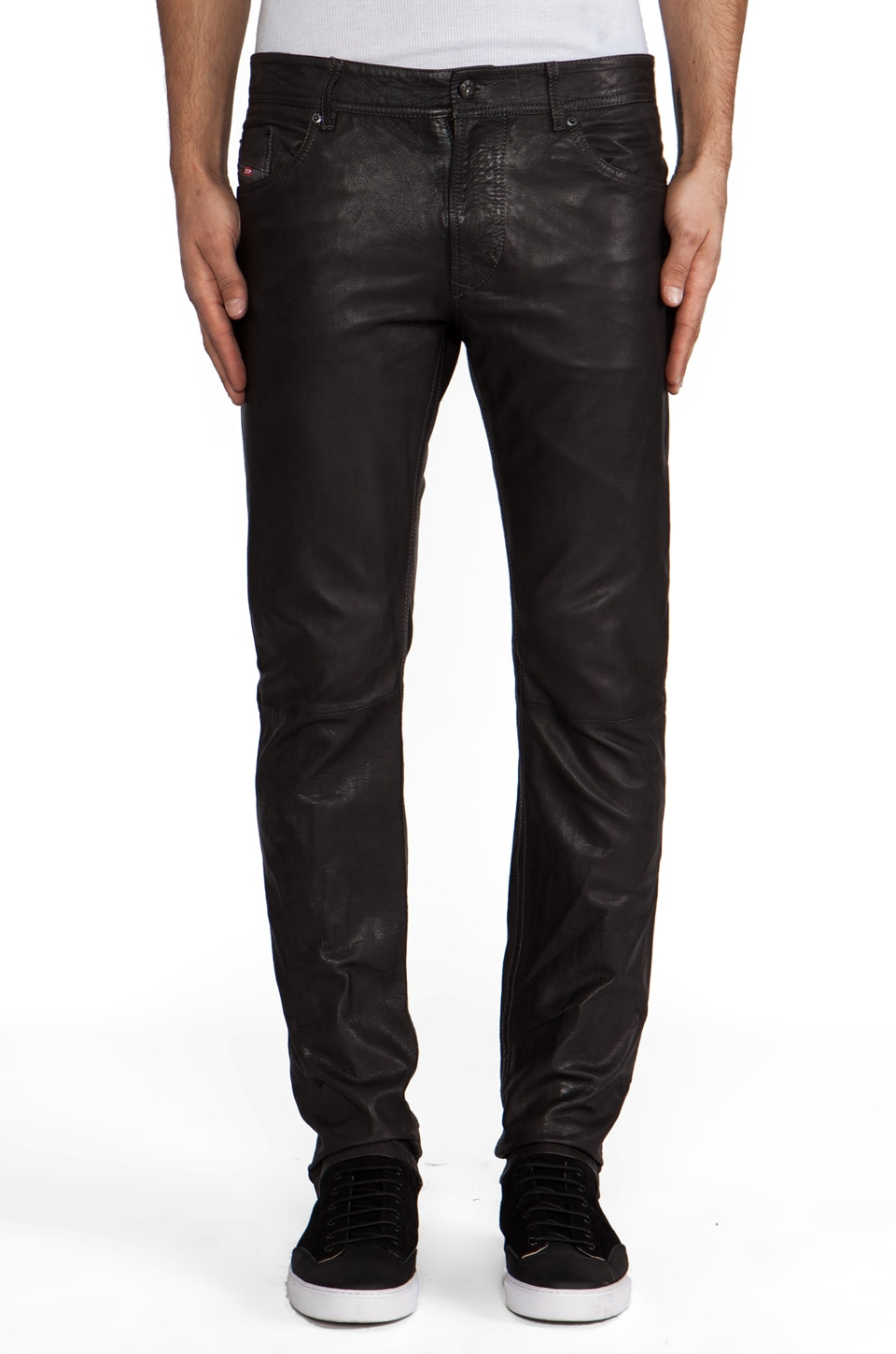 Diesel Thavar Leather Pant in Charcoal