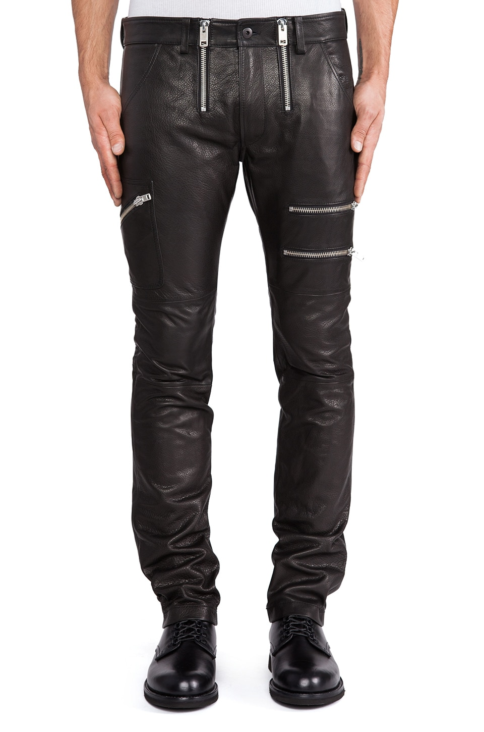 Diesel Zipps Leather Pant in Black