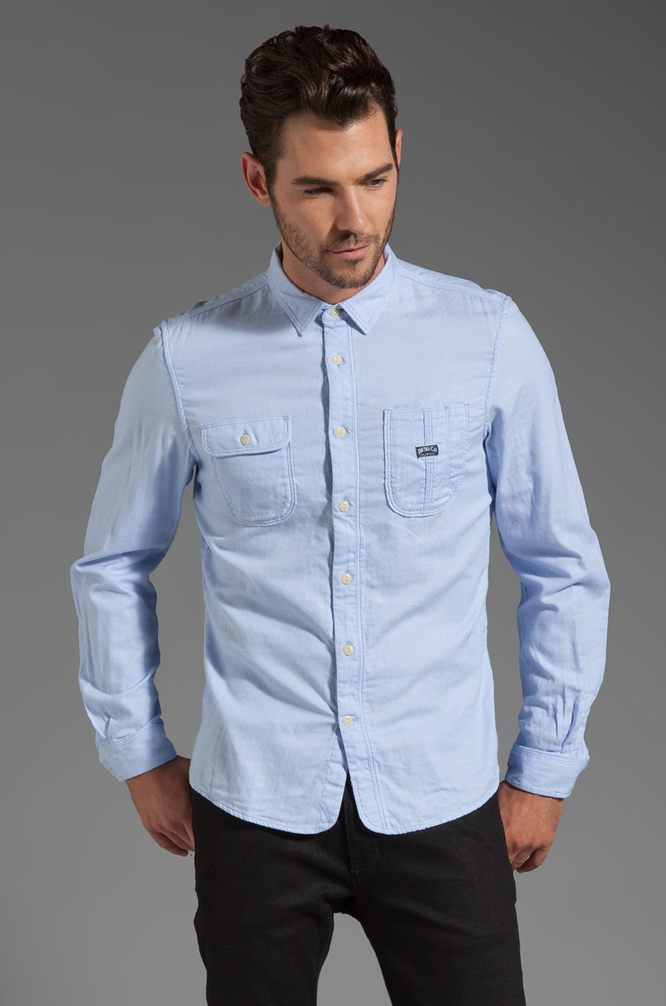 Diesel Schadex Button Down in Light Blue Stripe