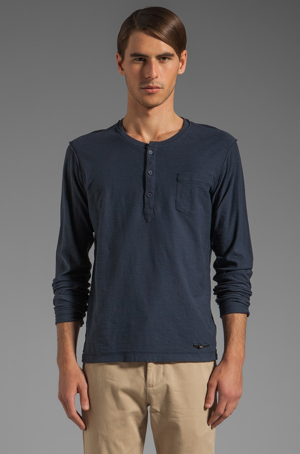 Diesel Canopy Long Sleeve Henley in Navy