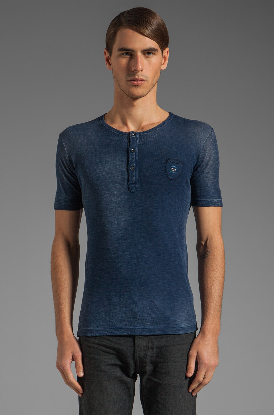 Diesel Distillation Henley Tee in Midnight