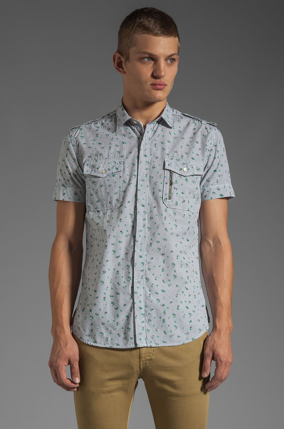 Diesel Spirk Short Sleeve Shirt in Light Grey