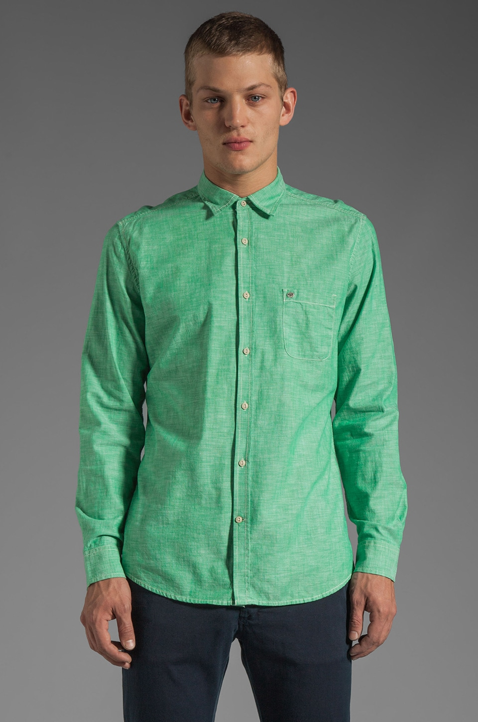 Diesel Sharpy Button Down in Stone Green