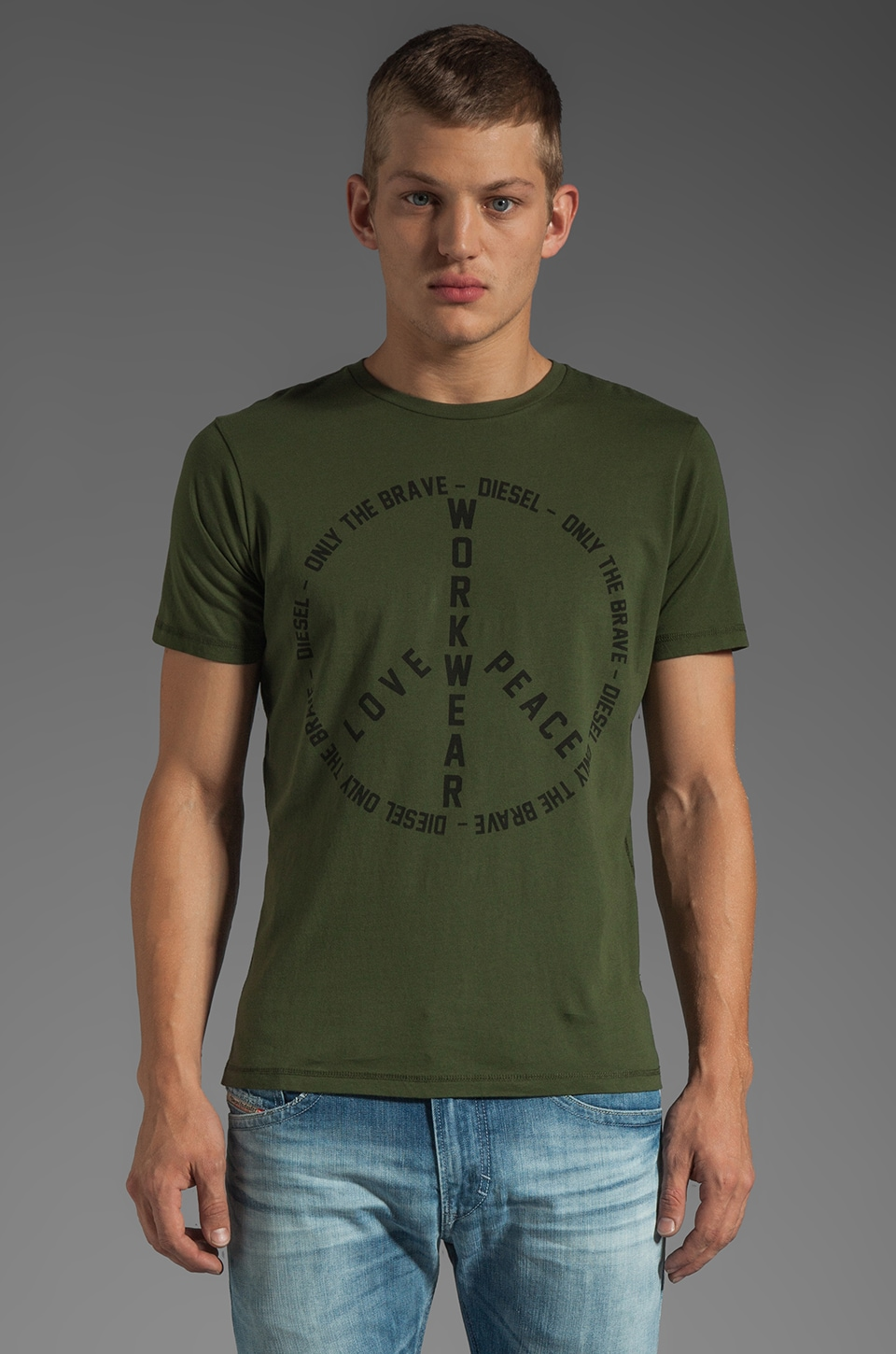 Diesel Fritz Tee in Jungle Green