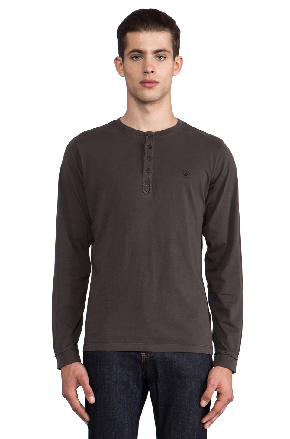 Diesel Flavien Long Sleeve Henley in Charcoal