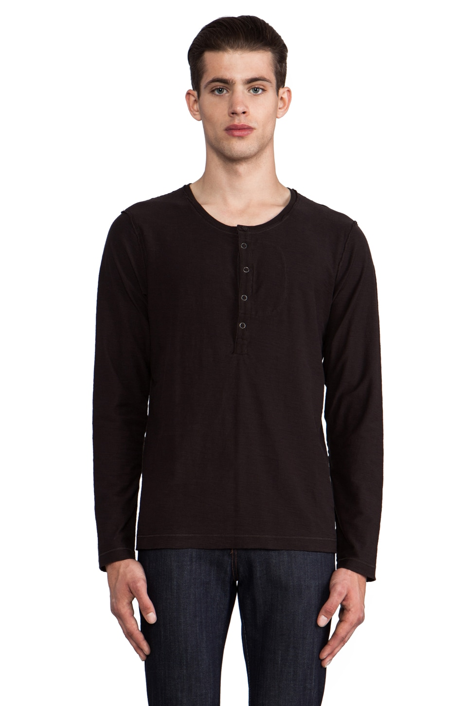 Diesel Canopy Long Sleeve Henley in Black