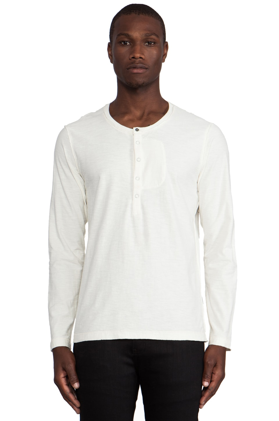 Diesel Canopy Long Sleeve Henley in Ash & Grey