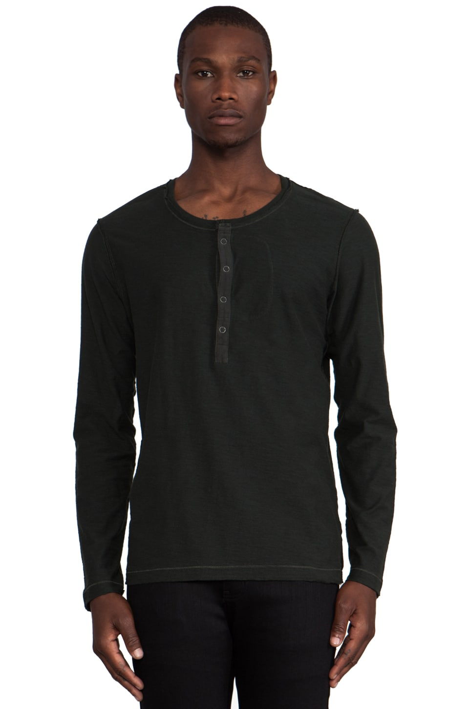 Diesel Canopy Long Sleeve Henley in Green & Moss