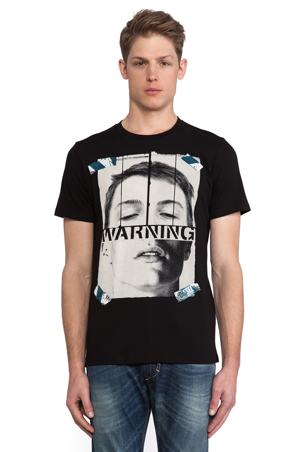 Diesel Warnface Tee in Black