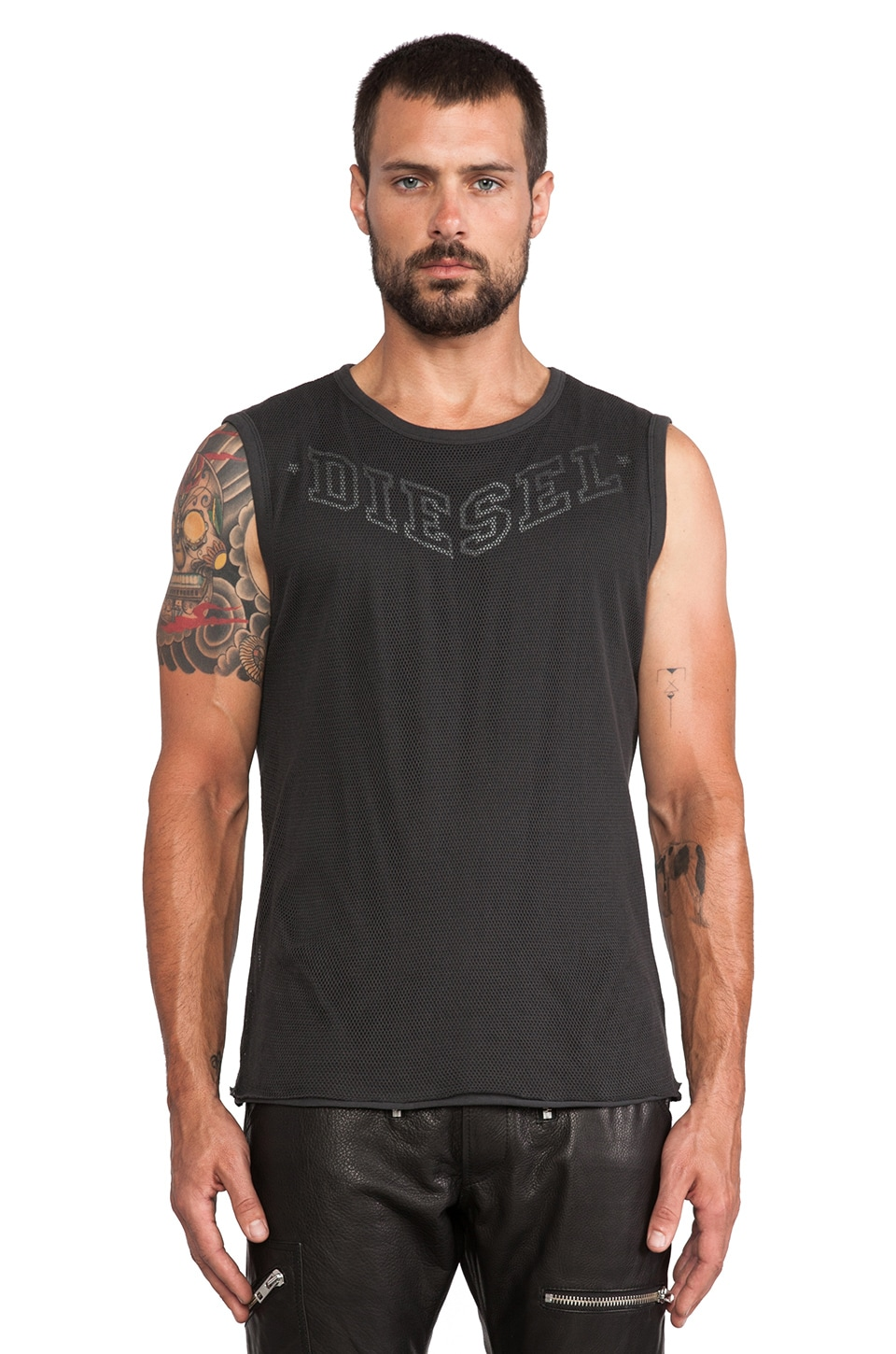 Diesel Ike Muscle Tee in Charcoal