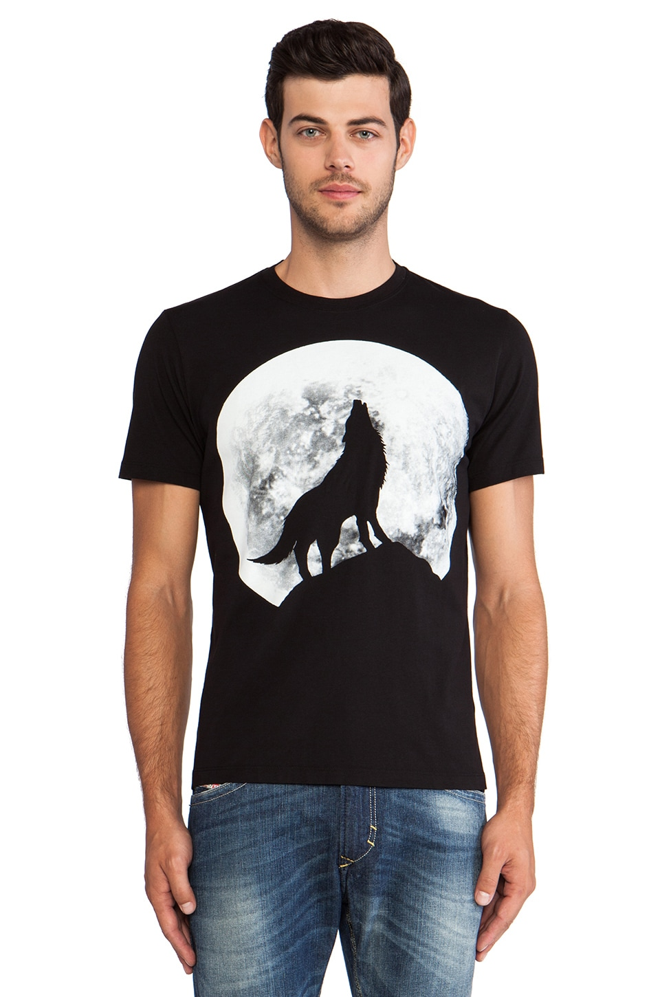Diesel Wolf Graphic Tee in Black