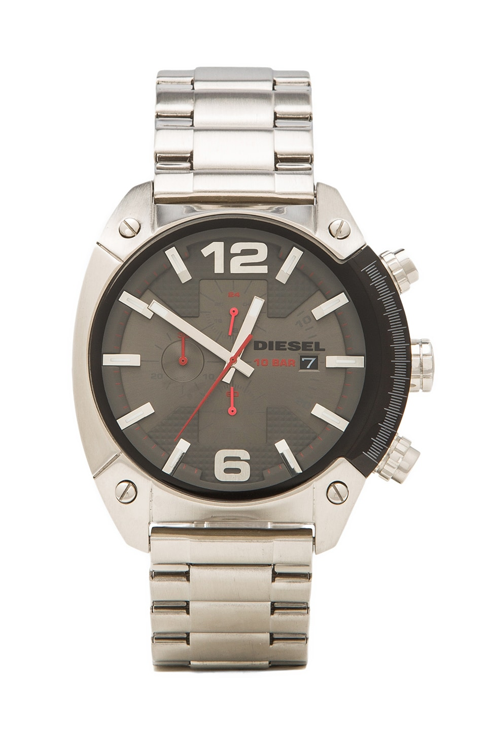 Diesel Overflow DZ4298 50mm in Silver/ Black