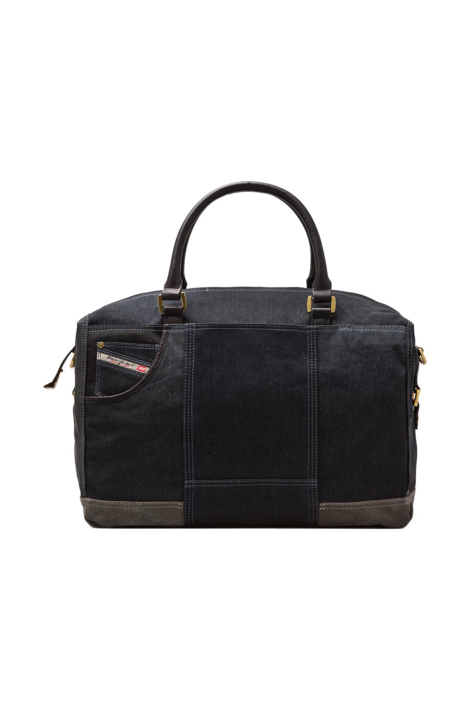 Diesel Home of the Brave Brave Trip II Duffel in Blue Denim/Grey
