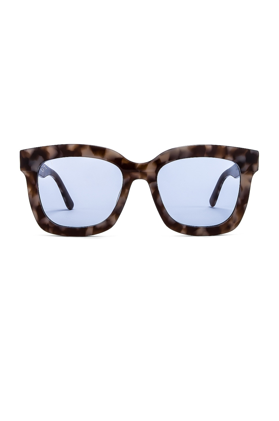 DIFF EYEWEAR Carson in Mocha Tort & Blue Transparent