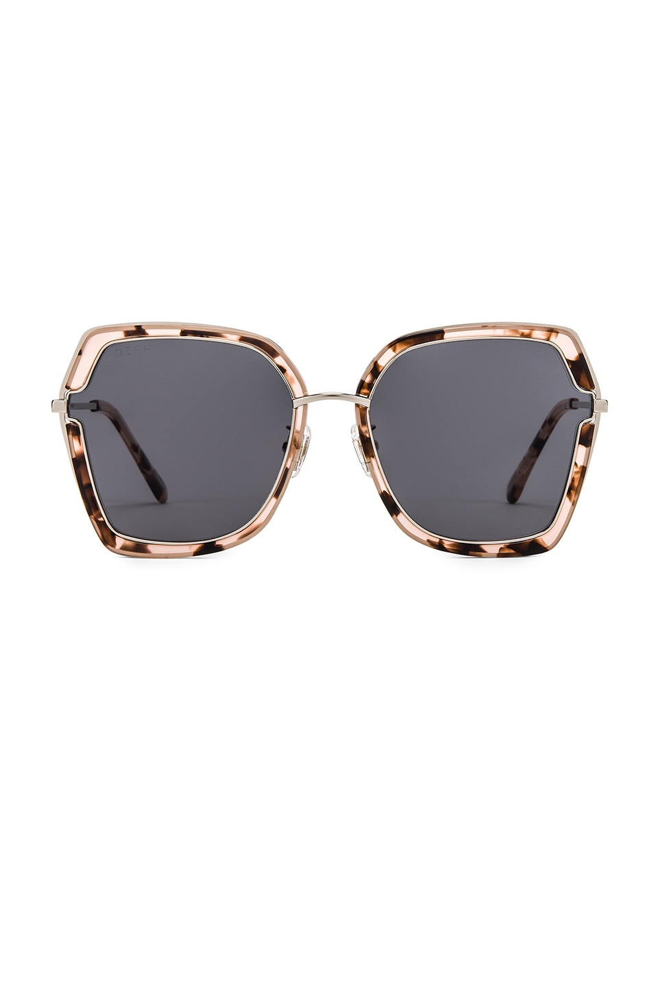 DIFF EYEWEAR Dakota Sunglasses in Silver & Himalayan Tortoise & Grey